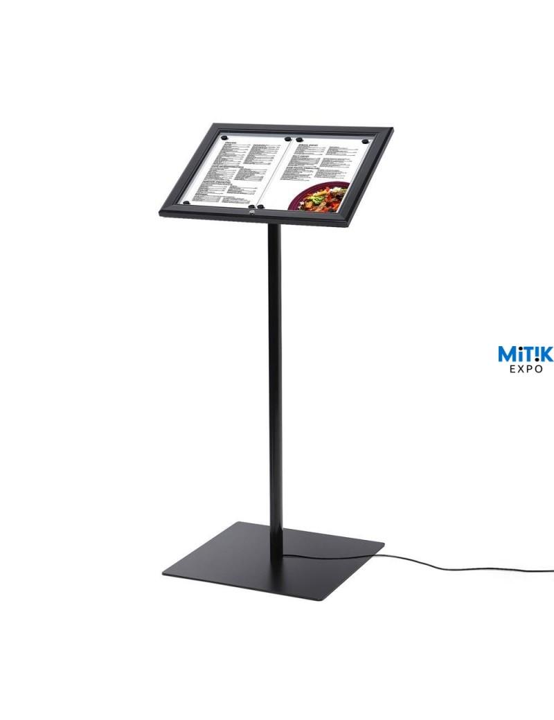 Atril información Black con luz LED para formatos 2 DIN A4