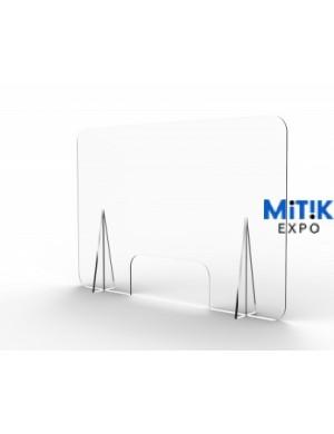 Mampara fabrica en PET de 3mm para separación de espacios en mostrador o mesa. Disponible en 74x60, 90x60  ó 90x74 cm.