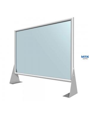 Mampara de metacrilato con marco de aluminio para separación de espacios en mostrador o mesa. Disponible 70 x 100 cm.